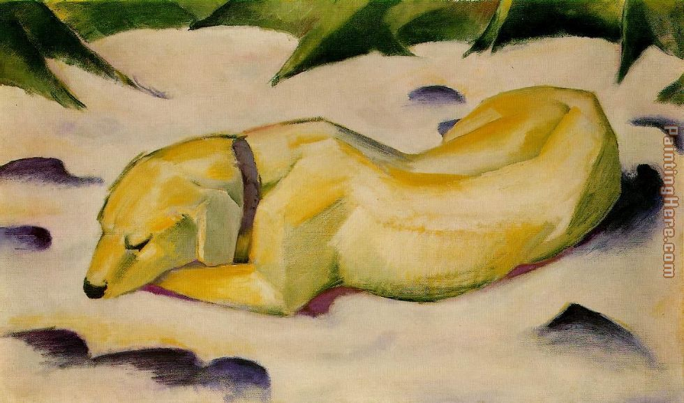 Franz Marc Dog Lying in the Snow Art Painting