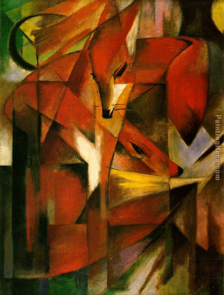 Foxes painting - Franz Marc Foxes art painting