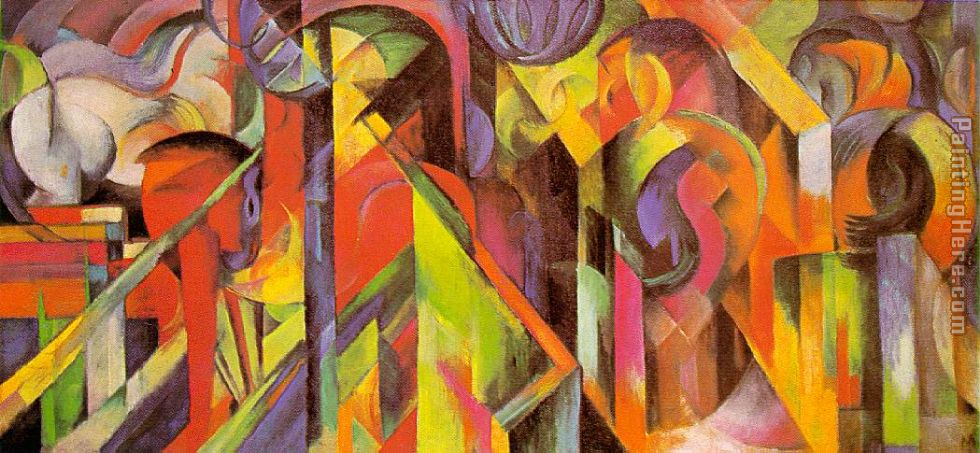 Stables painting - Franz Marc Stables art painting