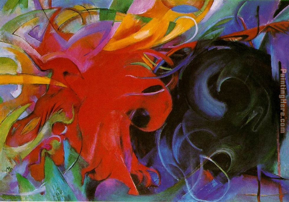 fighting forms painting - Franz Marc fighting forms art painting