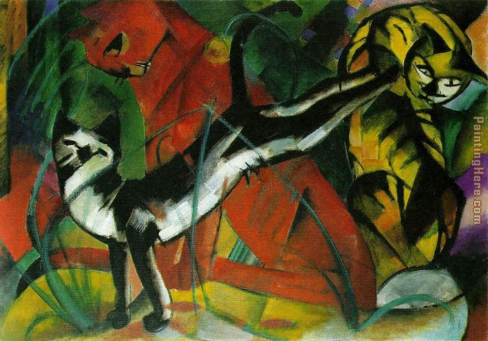 Franz Marc hree Cats Art Painting