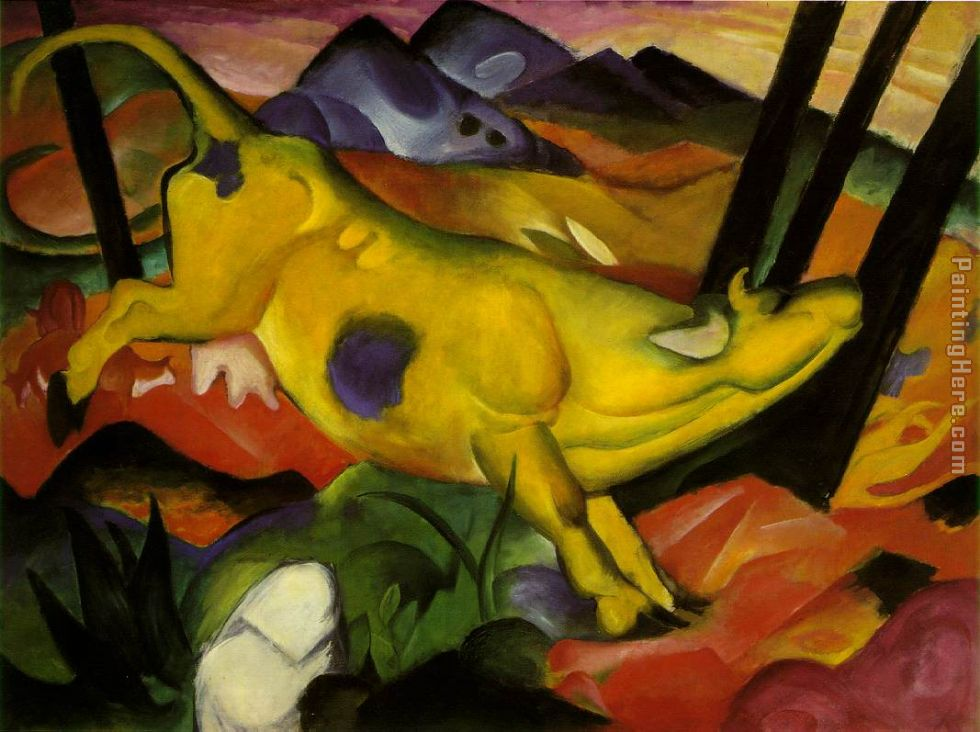 yellow cow painting - Franz Marc yellow cow art painting