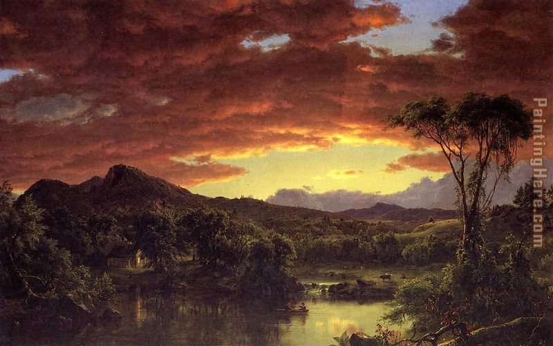 Frederic Edwin Church A Country Home Art Painting