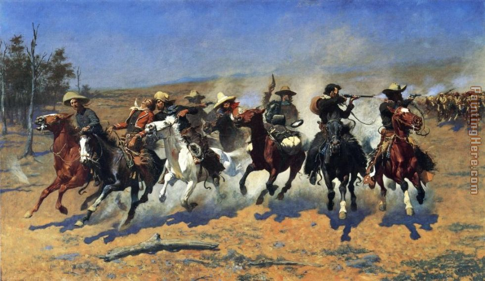 A Dash for the Timber painting - Frederic Remington A Dash for the Timber art painting