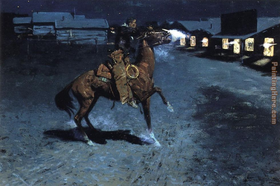 An Arguement with the Town Marshall painting - Frederic Remington An Arguement with the Town Marshall art painting