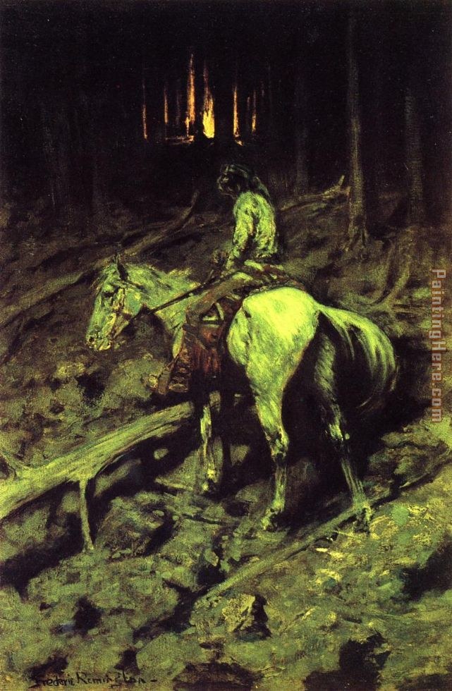 Frederic Remington Apache Fire Signal Art Painting