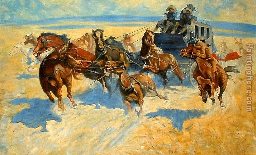 Downing the Night Leader painting - Frederic Remington Downing the Night Leader art painting