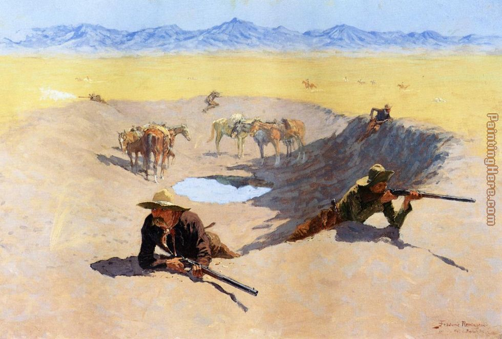 Frederic Remington Fight for the Water Hole Art Painting