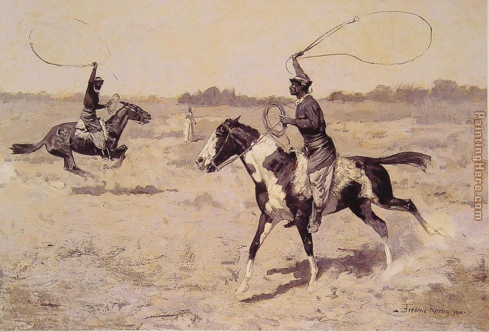 Frederic Remington It was to be a lasso duel to the death Art Painting