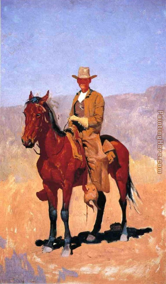 Mounted Cowboy in Chaps with Race Horse painting - Frederic Remington Mounted Cowboy in Chaps with Race Horse art painting