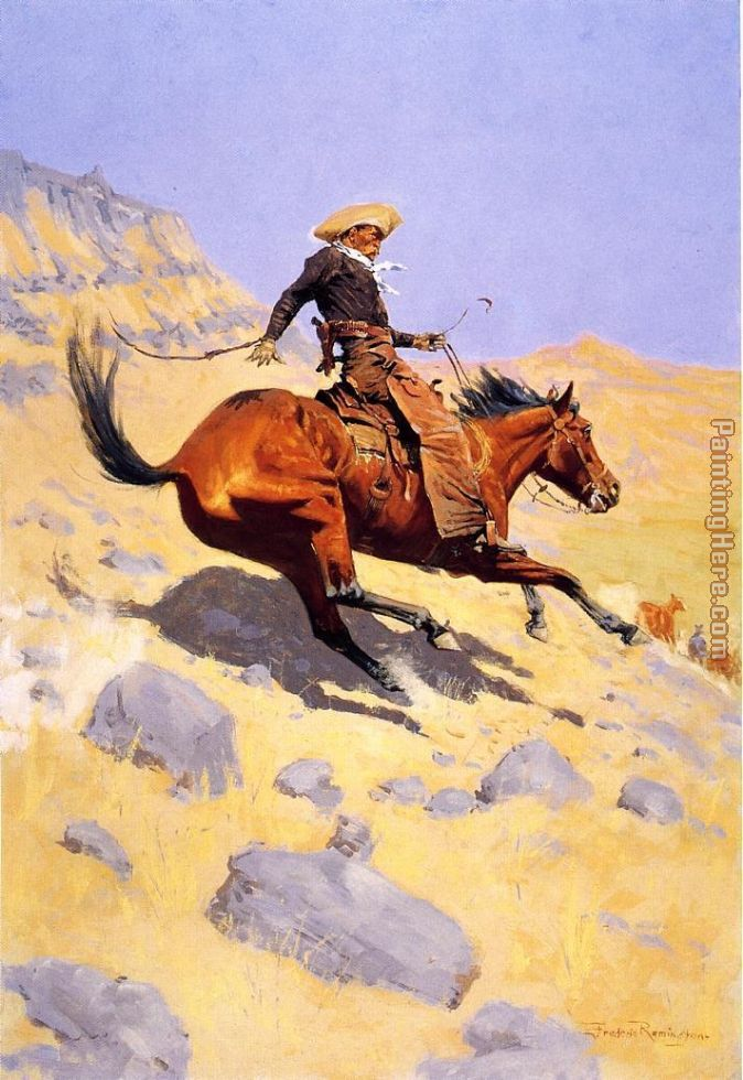 The Cowboy painting - Frederic Remington The Cowboy art painting