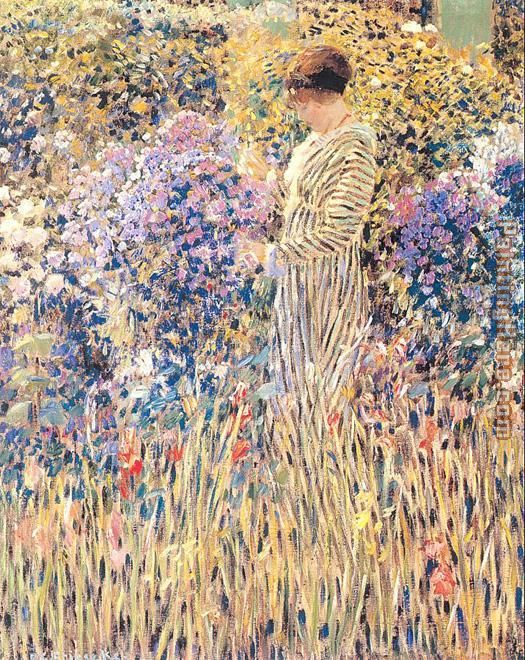 Lady in a Garden painting - Frederick Carl Frieseke Lady in a Garden art painting