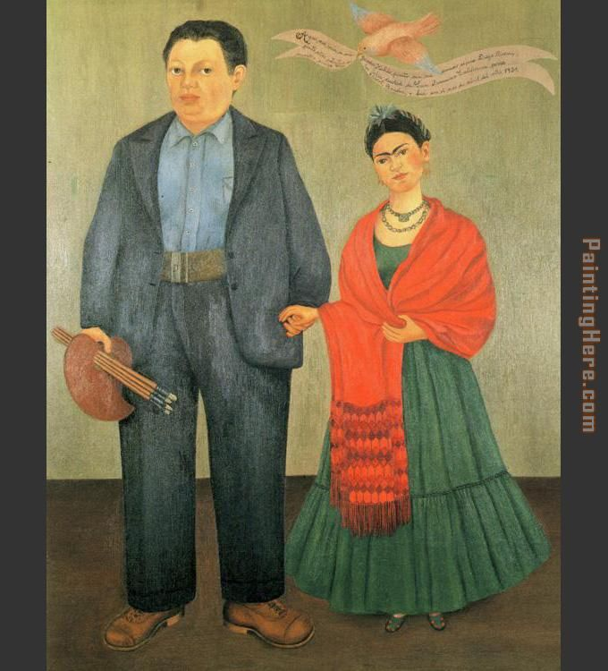 Frida and Diego Rivera painting - Frida Kahlo Frida and Diego Rivera art painting