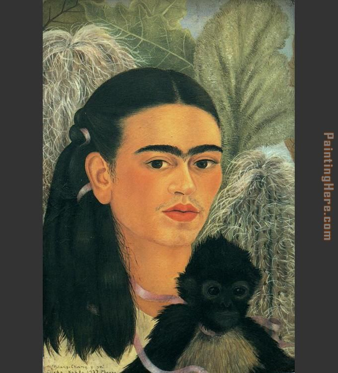 Fulang Chang and I painting - Frida Kahlo Fulang Chang and I art painting