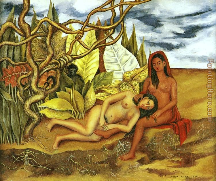 Frida Kahlo Two Nudes in the Forest Art Painting