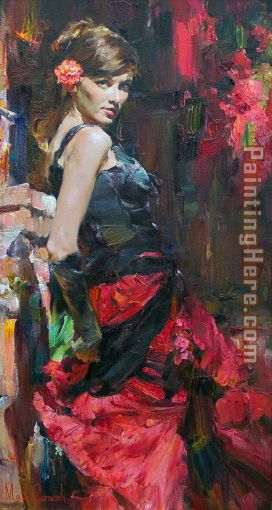 DANCER IN RED AND BLACK painting - Garmash DANCER IN RED AND BLACK art painting