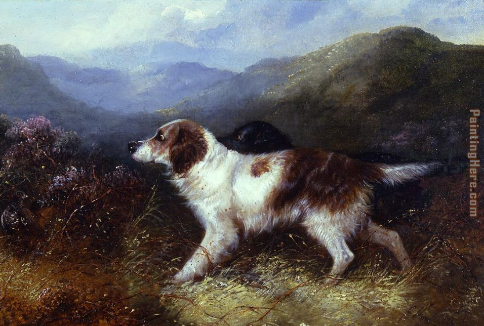 Two Setters in a Landscape painting - George Armfield Two Setters in a Landscape art painting