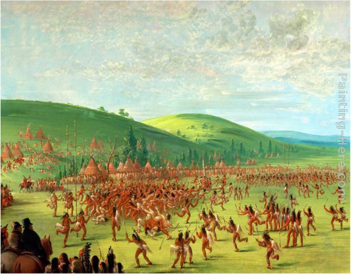 Indian Ball Game painting - George Catlin Indian Ball Game art painting