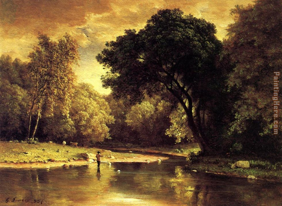 George Inness Fisherman in a Stream Art Painting