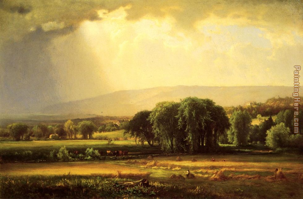 Harvest Scene in the Delaware Valley painting - George Inness Harvest Scene in the Delaware Valley art painting