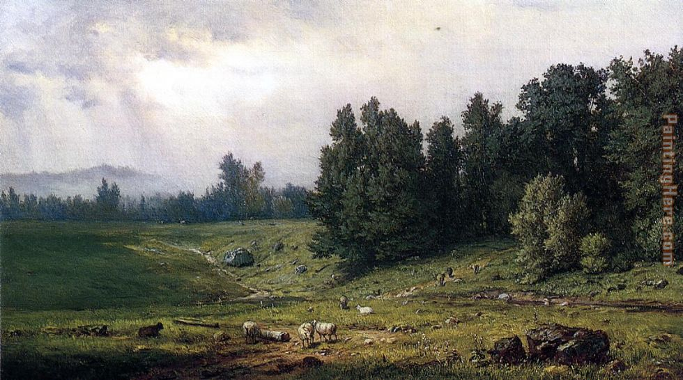 Landscape with Sheep painting - George Inness Landscape with Sheep art painting