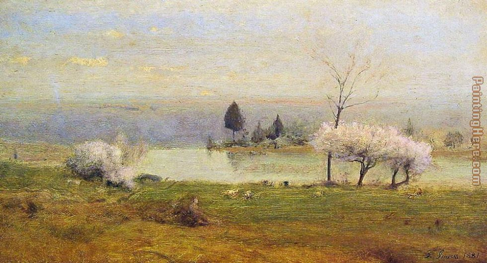 Pond at Milton on the Hudson painting - George Inness Pond at Milton on the Hudson art painting
