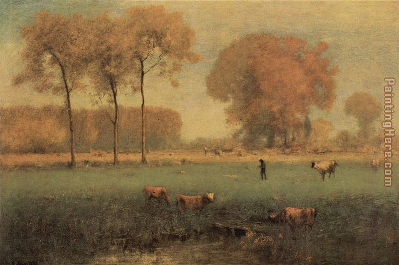 Summer Landscape painting - George Inness Summer Landscape art painting