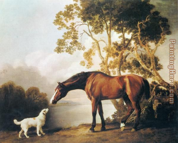Bay Horse and White Dog painting - George Stubbs Bay Horse and White Dog art painting