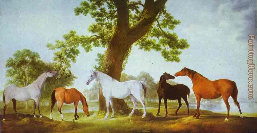 Mares by an Oak-Tree