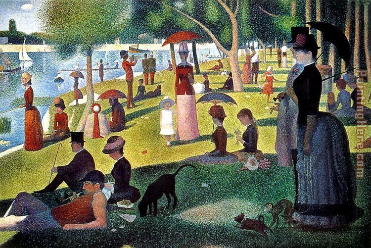 Sunday Afternoon on the Island of la Grande Jatte painting - Georges Seurat Sunday Afternoon on the Island of la Grande Jatte art painting