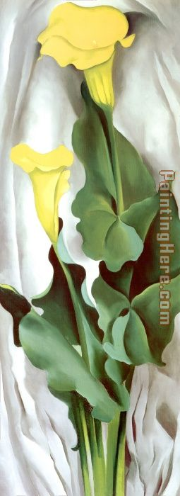 Georgia O'Keeffe Yellow Calla-Green Leaves Art Painting