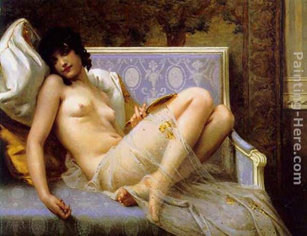 Guillaume Seignac Young woman naked on a settee Art Painting
