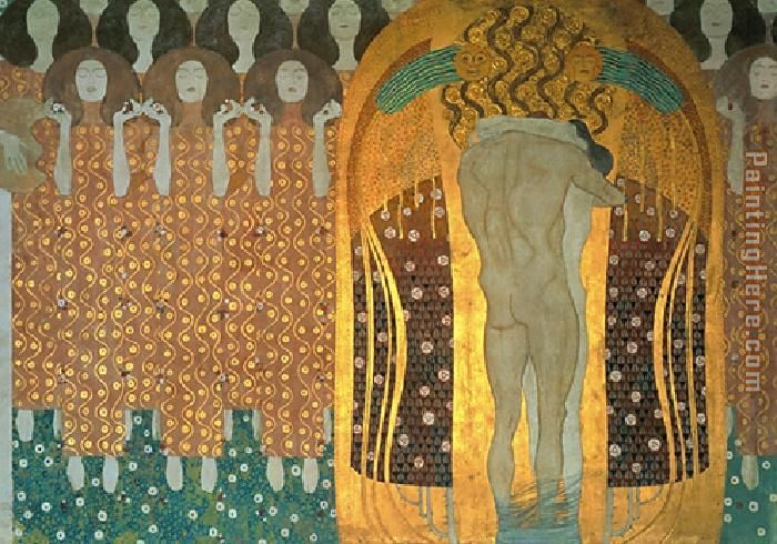 Beethoven Frieze painting - Gustav Klimt Beethoven Frieze art painting