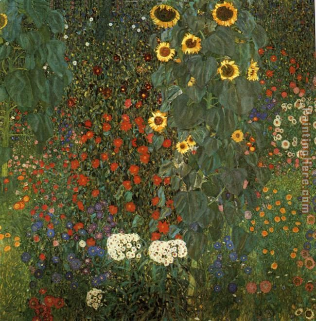 Gustav Klimt Country Garden with Sunflowers Art Painting