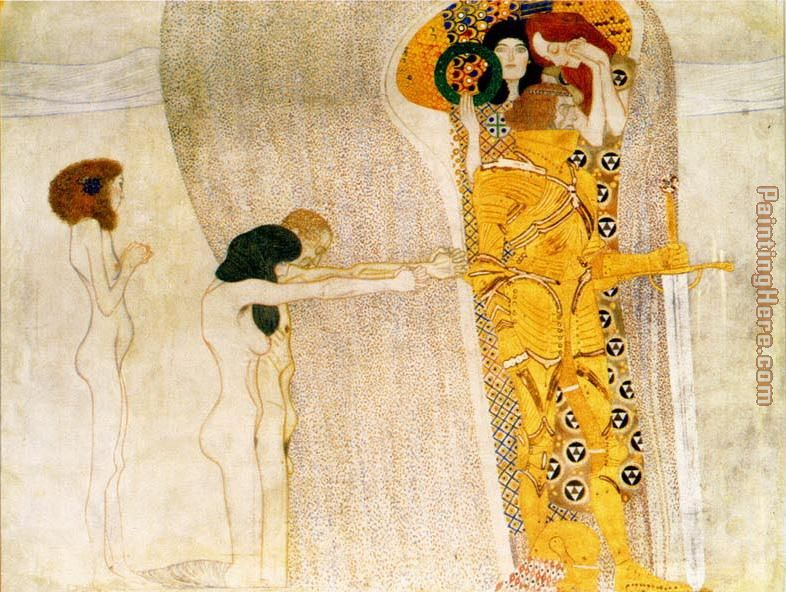 Entirety of Beethoven Frieze left3 painting - Gustav Klimt Entirety of Beethoven Frieze left3 art painting