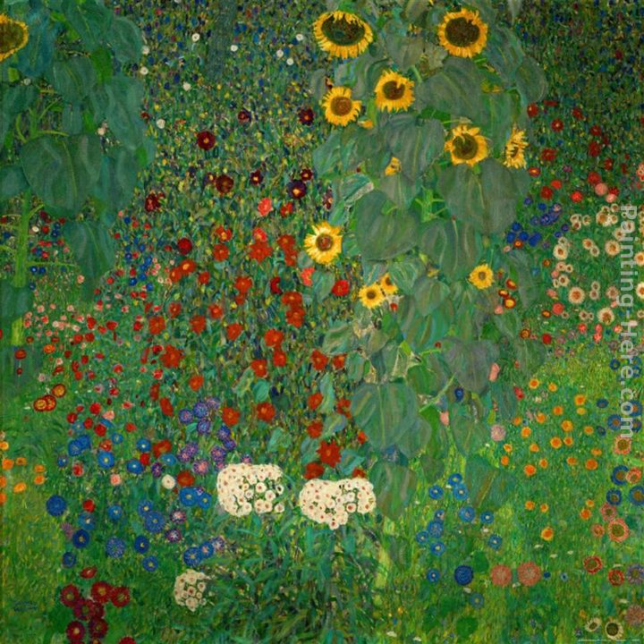 Charmant Farm Garden With Sunflowers Painting   Gustav Klimt Farm Garden With  Sunflowers Art Painting