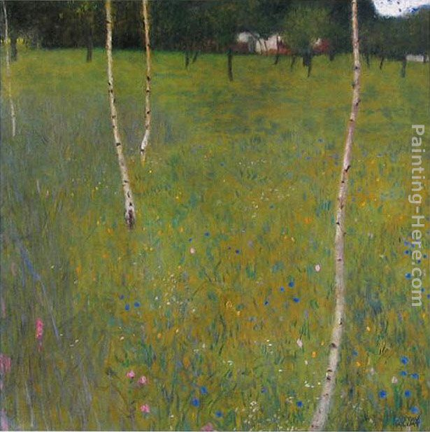 Farmhouse with Birch Trees painting - Gustav Klimt Farmhouse with Birch Trees art painting