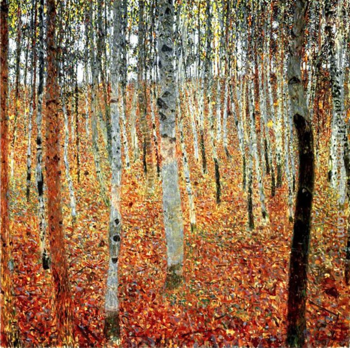 Gustav Klimt Forest of Beech Trees Art Painting
