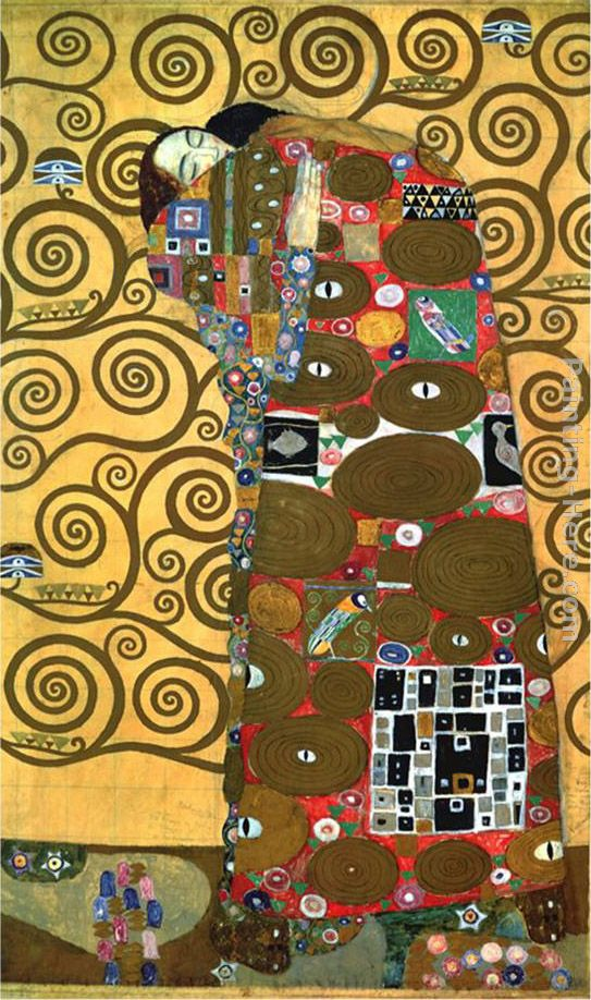 Fulfillment,One of the Kiss Panels painting - Gustav Klimt Fulfillment,One of the Kiss Panels art painting