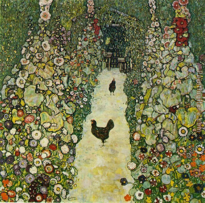 Garden Path with Chickens painting - Gustav Klimt Garden Path with Chickens art painting