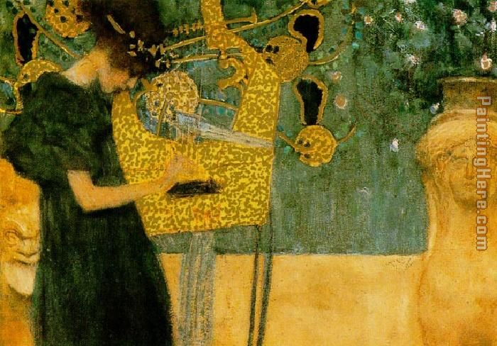 The Music (gold foil) painting - Gustav Klimt The Music (gold foil) art painting