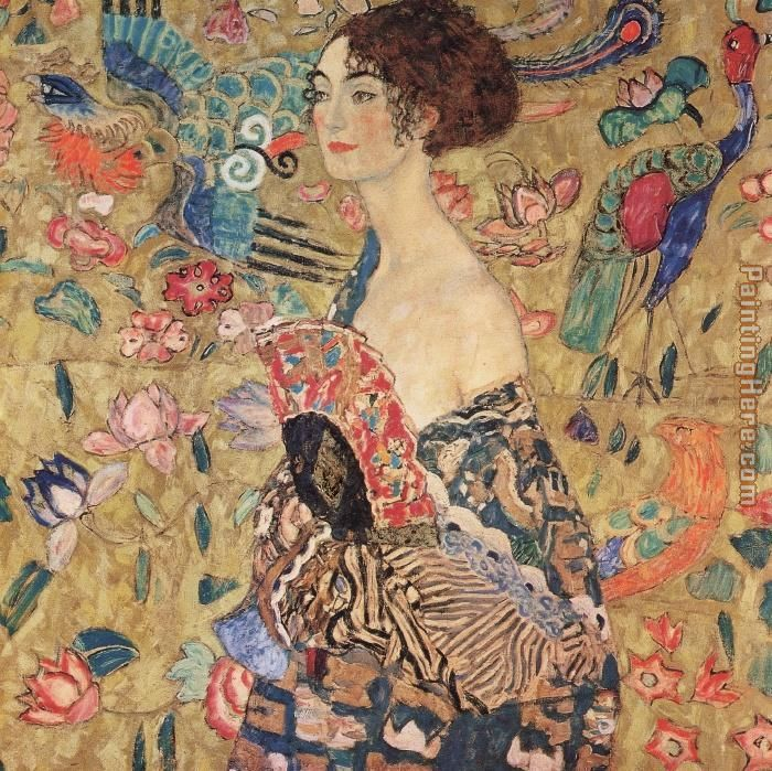 Gustav Klimt lady with fan Art Painting