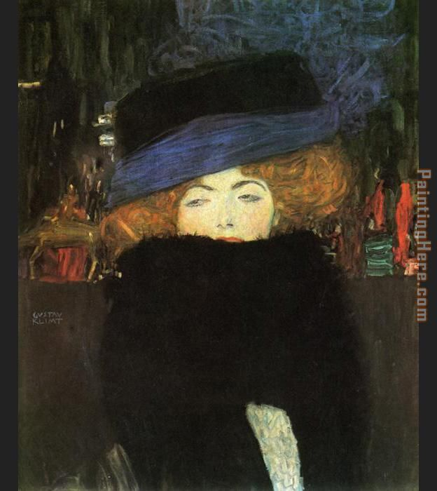 lady with hat and feather boa painting - Gustav Klimt lady with hat and feather boa art painting