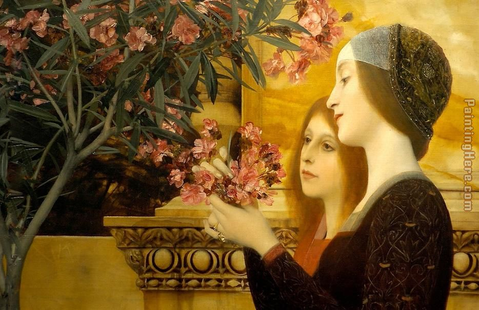 two girls with an oleander painting - Gustav Klimt two girls with an oleander art painting