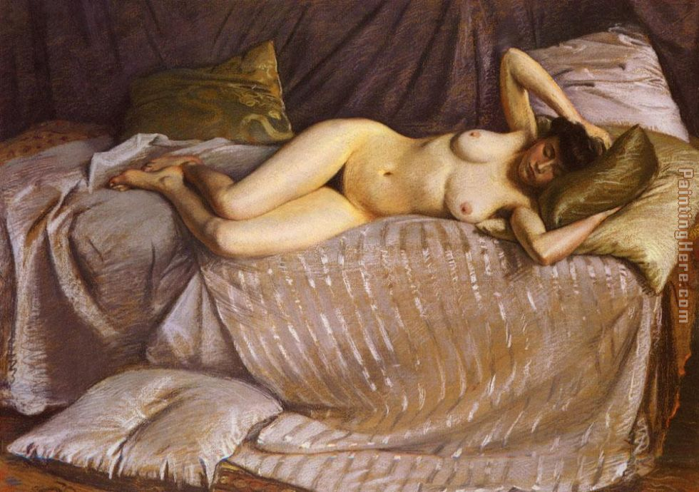Naked Woman Lying on a Couch painting - Gustave Caillebotte Naked Woman Lying on a Couch art painting