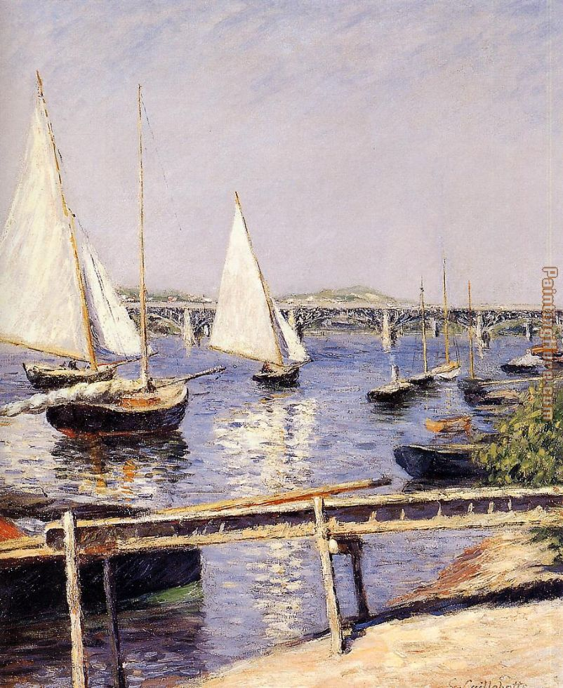 Gustave Caillebotte Sailing Boats at Argenteuil Art Painting