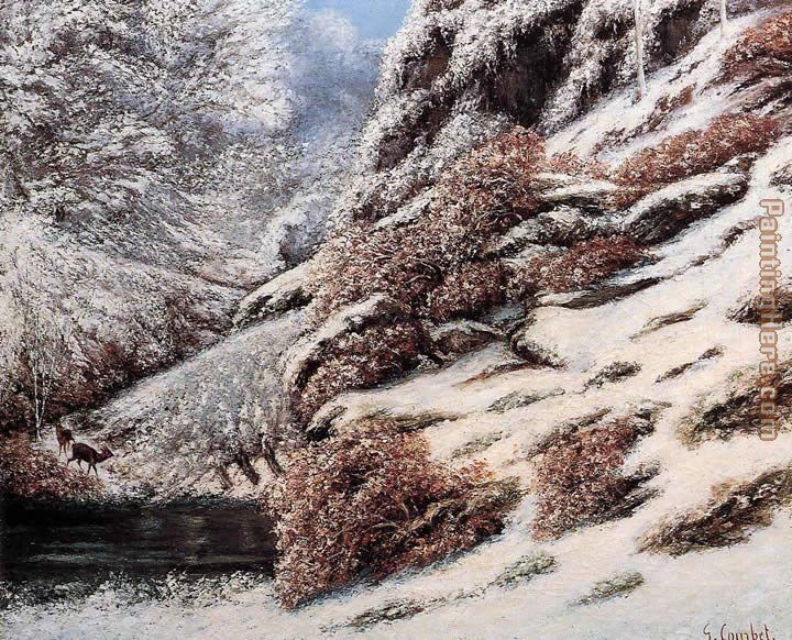 Gustave Courbet Deer in a Snowy Landscape Art Painting
