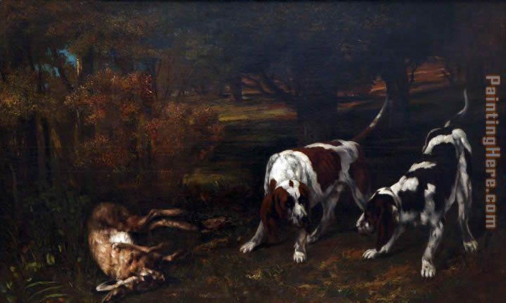 Hunting Dogs painting - Gustave Courbet Hunting Dogs art painting