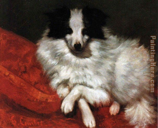 Sitting on cushions dog painting - Gustave Courbet Sitting on cushions dog art painting