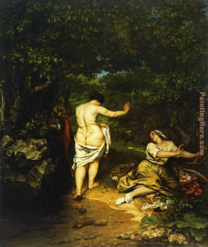 The Bathers painting - Gustave Courbet The Bathers art painting